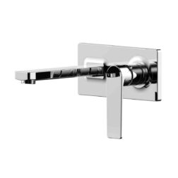Lozano Terry Wall Combination Mixer and Spout on Backplate - Polished Chrome