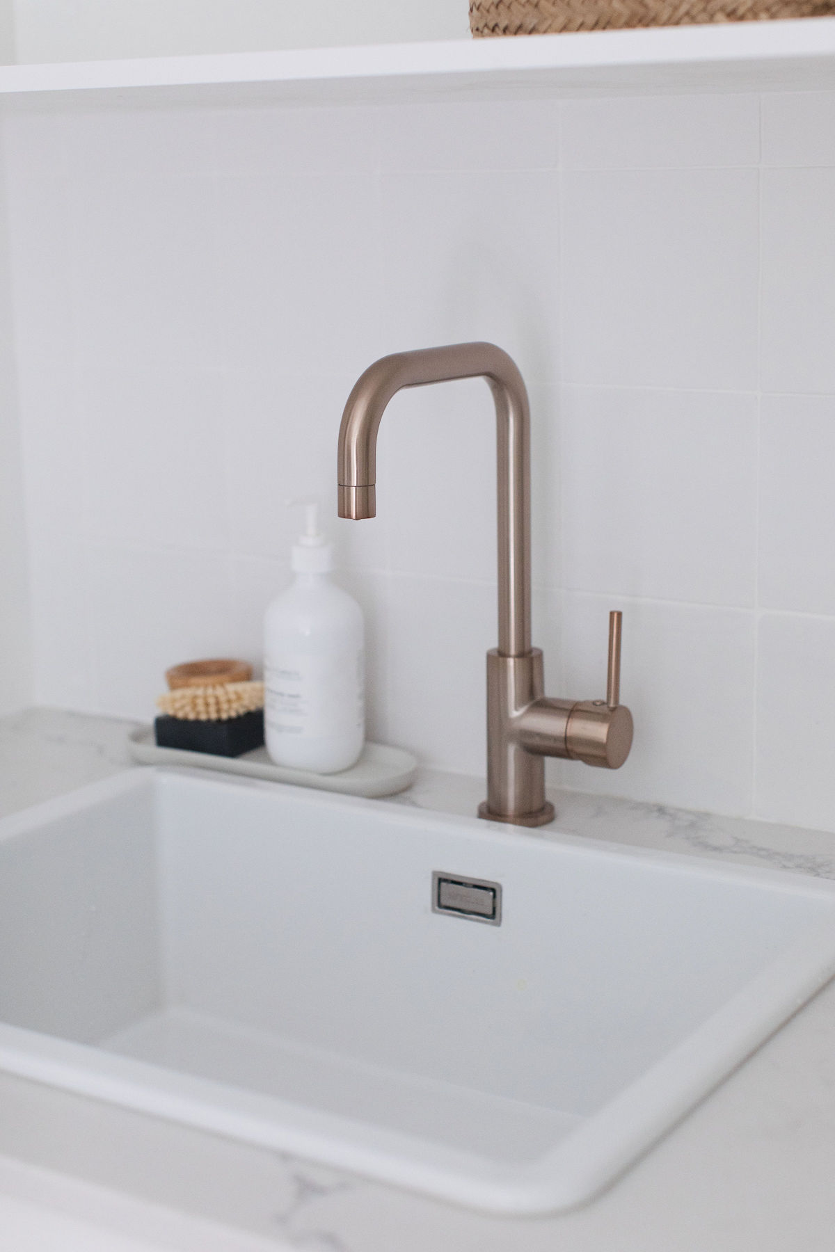 Rose gold laundry tap