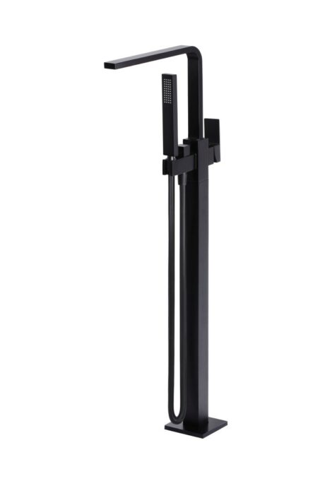 Meir Square Freestanding Bath Spout and Hand Shower - Matte Black