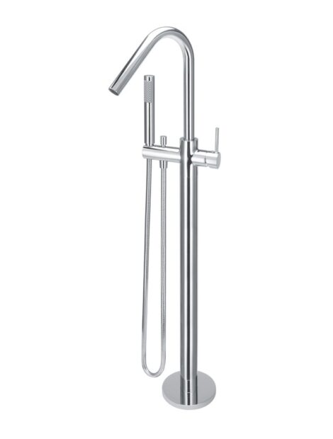 Meir Round Freestanding Bath Spout and Hand Shower - Polished Chrome