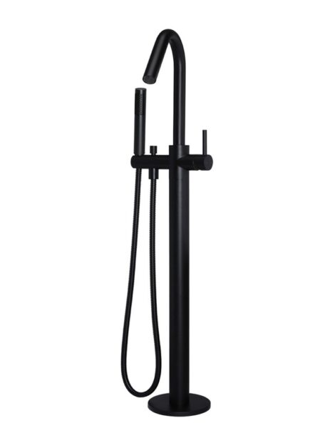Meir Round Freestanding Bath Spout and Hand Shower - Matte Black