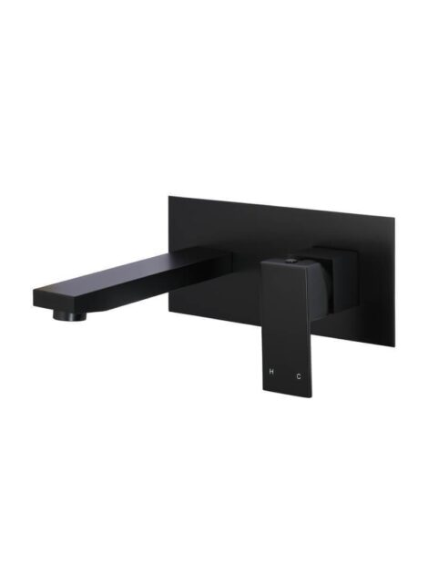 Meir Square Wall Combination Mixer and Spout - Matte Black