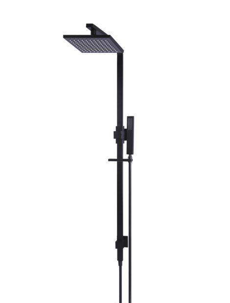 Meir Square Combination Shower Rail 200mm rose - Matte Black