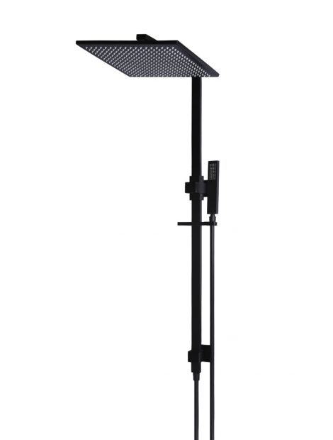 Meir Square Combination Shower Rail 300mm rose - Matte Black