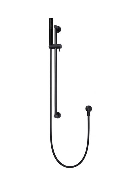 Meir Round Shower on Rail Column - Matte Black