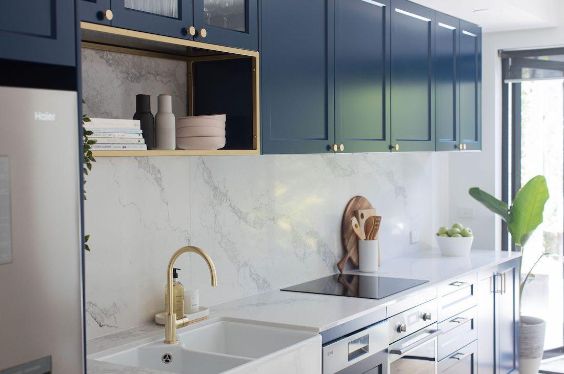 Blue shaker style kitchen Erskineville kitchen feature