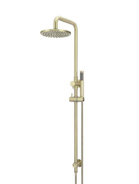 Meir Round Combination Shower Rail 200mm Rose, Single Function Hand Shower - Tiger Bronze