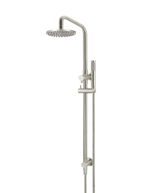 Meir Round Combination Shower Rail 200mm Rose, Single Function Hand Shower - PVD Brushed Nickel
