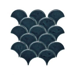 Blackwater Fan Blue Gloss Crackle Glaze Mosaic Tile