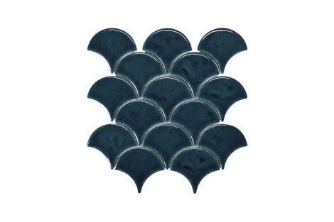 Blackwater Fan Blue Gloss Crackle Glaze Mosaic Tile