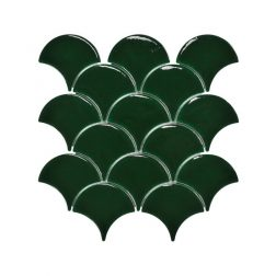 Blackwater Fan Green Gloss Crackle Glaze Mosaic Tile