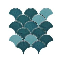Blackwater Fan Teal Blend Gloss Crackle Glaze Mosaic Tile