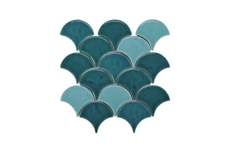 Blackwater Fan Teal Blend Gloss Crackle Glaze Mosaic Tile