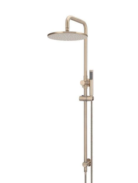 Meir Round Combination Shower Rail 300mm Rose, Single Function Hand Shower - Champagne