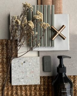 We were fooled into thinking spring was upon us 😆Back to cooler weather and cosier flatlays. What's your fave element of this scheme?  Featuring our Terrazzo Bianco Piccolo Tile,Artisan Square White Tile,Suki Tuiquise Gloss Finger Mosaic (kitkat tiles), @meiraustralia champagne tap,  and @nood_co basin swatch to pick up on the green tones. Also features @caesarstoneau 'Adamina', @porta_timber 'Contours' Riverine, @naturalrugsaustralia 'Grassy' jute, and @ashleyandcosociety hand wash💚  #flatlay #interiordesign #terrazzotile #kitkattile #greentile #moodboard #materialsboard #materialspalette
