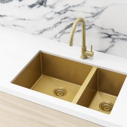 Meir Kitchen Sink - Double Bowl 670 x 440 - Brushed Bronze Gold