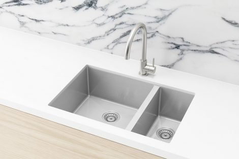 Meir Kitchen Sink - Double Bowl 670 x 440 - Brushed Nickel