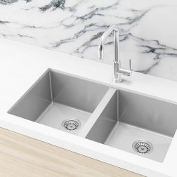 Meir Kitchen Sink - Double Bowl 760 x 440 - Brushed Nickel