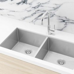 Meir Kitchen Sink - Double Bowl 860 x 440 - Brushed Nickel