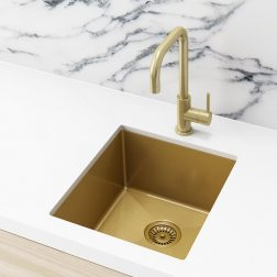 Meir Kitchen Sink - Single Bowl 380 x 440 - Brushed Bronze Gold