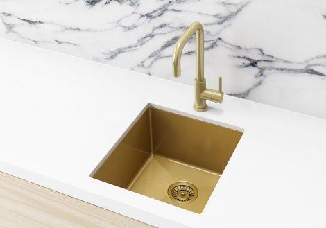 Meir Kitchen Sink - Single Bowl 380 x 440 - Brushed Bronze Gold