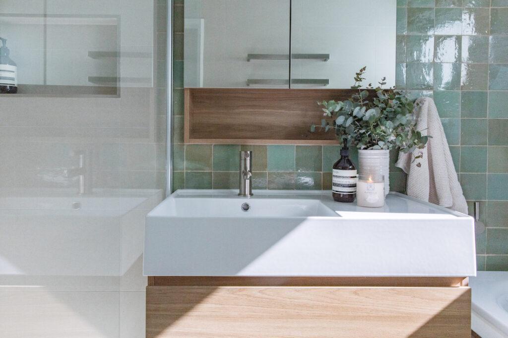 Spearmint Zellige bathroom