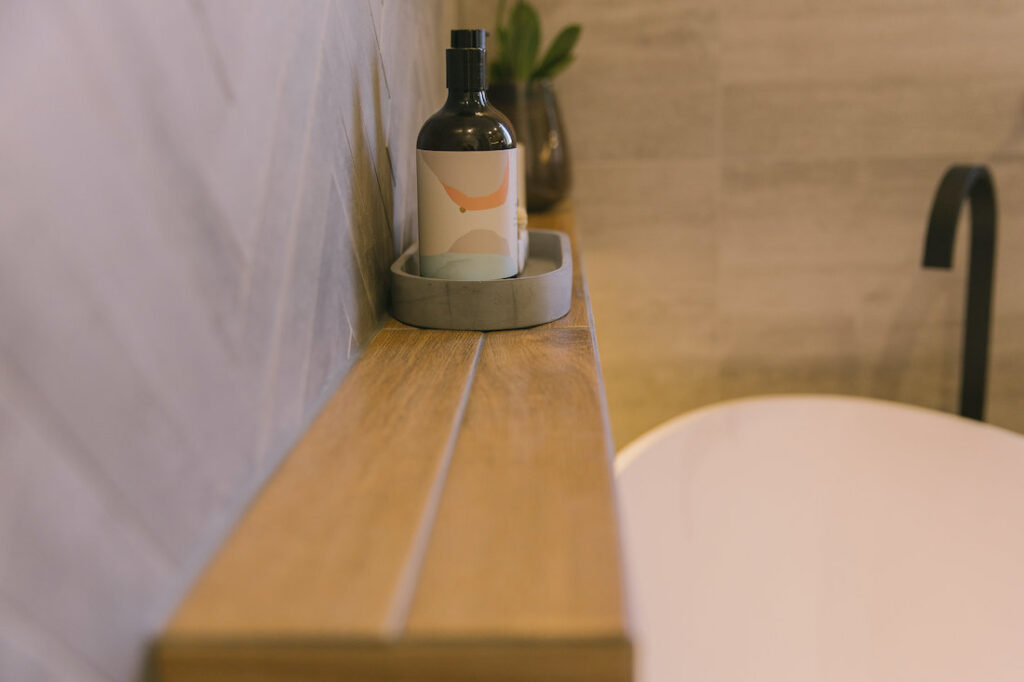 Different angle of floating timber look shelf