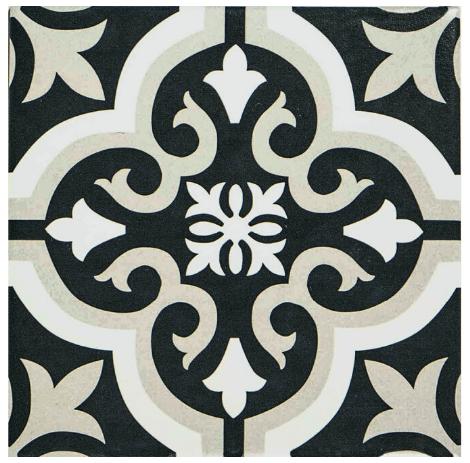 Barcelona Prague Black and White Matt tile