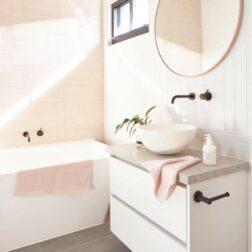 Vintage Pink Long Finger Mosaic Tiles Lifestyle